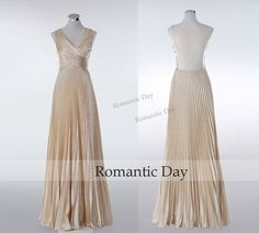 Women Sexy V-Neck Pleats Champagne Long Prom Dress by RomanticDay