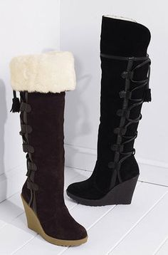I love wedge-heeled boots - you can actually walk in them! :)