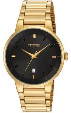 Citizen Mens Stainless Steel Case and Bracelet Black Dial Gold Watch - BI5012-53E