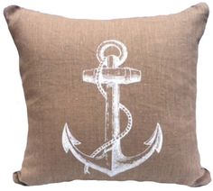 Natural Linen Anc... just in at I Bought Her Freedom...click here and discover more http://iboughtherfreedom.com/products/natural-linen-anchor-white-cushion