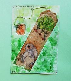 """206 день рисования на чайных пакетиках """"Зайка в засаде"""" акварельные карандаши, тушь #365чай#365чай_ладаяцына#teabag Tea Bag Art, Bags, Handbags, Bag, Totes, Hand Bags"""