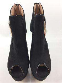 c8731c4996 Womens Black Shoes Ladies High Heels Stiletto Zip Peep Toe Party Size UK 5  New #