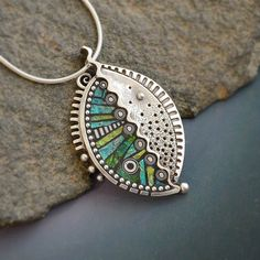 Sterling silver abstract leaf pendant necklace by LizardsJewelry