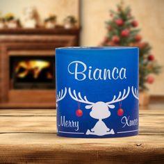 #Weihnachtsdeko #Christmas #Tischkarte #Windlicht Elche blau: https://www.meine-hochzeitsdeko.de/windlicht-weihnachten-tischkarte-elche