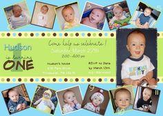Custom Photo Card Baby Boy First Birthday Invitations