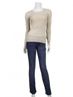 Pullover mit Spitze, beige | Memory & Co