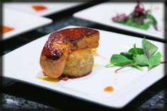 Black truffle & pig feet croquette with pan seared Foie gras & Port wine reduction