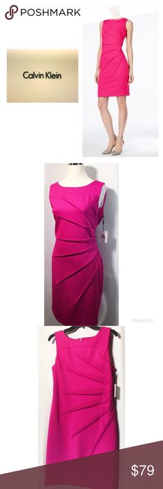 "Calvin Klein Women's Sz 12 Pink Scuba Sheath Dress A Flattering Sunburst Design by Calvin Klein, in the Great color.  Brand: Calvin Klein Size: 12 Condition: NWT Color: Pink ( Fuchsia) Lined: No Sleeve Style: Sleeveless Style: Stretch Scuba Sheath Dress Length: Approx. 38"" Material: 92 % Polyester/8 % Spandex Zipper: Concealed Back Zipper Bust: 20"" ( Underarm to underarm) Waist: 18"" (Flat across)  Extra Details: Material has stretch, Round Neckline, Sunburst Detail   Brand new with tags…"