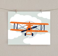 Airplane Decor - Boy Nursery Art Print -  Orange & Navy blue, 11x14. $22.00, via Etsy.