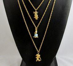 Goldette Triple Chain Charm Necklace Owl by GrapenutGlitzJewelry
