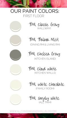 Maybe the chelsea gray for the living room accent wall? Or maybe no color if we are painting the fireplace? Benjamin Moore Balboa Mist, Benjamin Moore Cloud White, Benjamin Moore Classic Gray, Benjamin Moore Paint, Paint Color Schemes, Grey Paint Colors, Room Paint Colors, Paint Colors For Home, House Colors