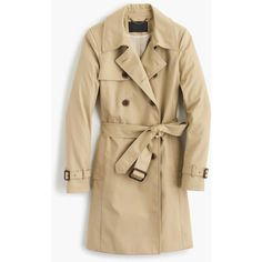 J.Crew Icon Trench Coat (16.920 RUB) ❤ liked on Polyvore featuring outerwear, coats, trench, brown tie belt, cotton trench coat, fur-lined coats, j crew coats and tie belt