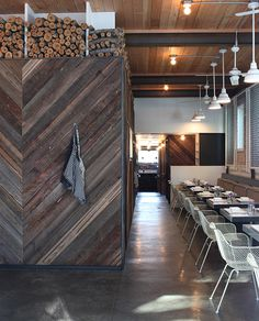 Bitterroot - Home - love love love love love the chevron wood wall with kindling on top!