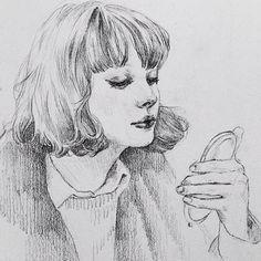 "pencil portrait from my french film 'j adore"" with @lukelocurcio11 // @pencilballad #Padgram"