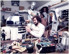 Mr Dyson pictured working on one of the first R2-D2 robots for Star Wars