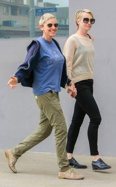 Cute couple Ellen Degeneres & Portia De Rossi sport cute sunnies while out to brunch.