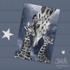 Открытка от Юлии Григорьевой c милой иллюстрацией с портретом мамы жирафа и ее малышей станет замечательным подарком. Наши открытки можно посылать почтой, что так любят посткроссеры со всего мира, дарить друзьям и близким, а можно просто повесить рядом с собой или оформить в рамочку. Размер 10х15 см, печать на картоне 300 гр
