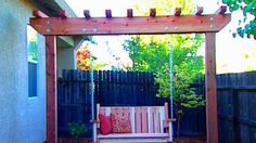 A freestanding arbor frame can support a store-bought swing or the custom model below.