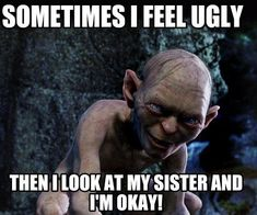 Here are 30 Hilariously Awkward And Sarcastic Sister Memes. They are actually relatable. Funny Sports Memes, Sports Humor, Funny Jokes, It's Funny, Funny Stuff, I Feel Ugly, Feeling Ugly, Ugly Meme, Sister Jokes