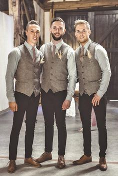 Groomsmen Attire In Classic Style, Vest, Tuxedo And Casual ❤ See more: http://www.weddingforward.com/groomsmen-attire/ #weddings