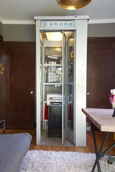 A phone booth office. See.  I KNEW I shouldn't have gotten rid of that old phone booth I had sitting around forever....
