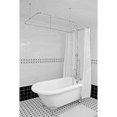 This installation shows a clawfoot tub away from the wall more than most.