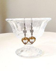 Edwardian Rhinestones and Heart Earrings – Cupids Charm