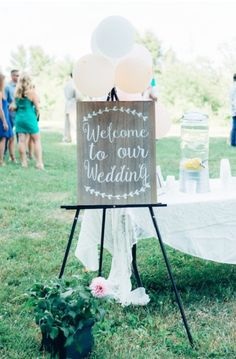 Welcome to our Wedding faux wood signage, with easel, $20 rental