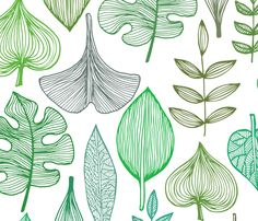 Green Leaves Pattern fabric by yulia on Spoonflower - custom fabric