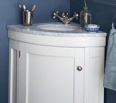 Brinkley Demilune Single Corner Sink Console | Pottery Barn