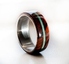 Wood Mens Wedding Band Ring Turquoise and wood ring Wood Ring Titanium ring Silver Ring Titanium Wedding Rings, Custom Wedding Rings, Titanium Rings, Wedding Ring Bands, Mens Turquoise Rings, Turquoise Wedding Rings, Turquoise Jewelry, Damascus Wedding Band, Wood Rings