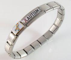 Amazon.com: Autism Awareness Medical ID Alert Italian Charm Bracelet Jewelry: Jewelry