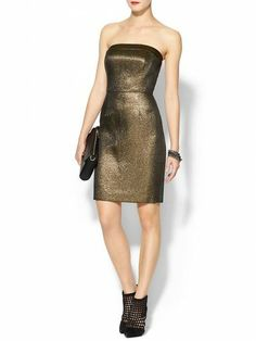 Gold Strapless Stress Perfect for your Holiday Dinner Party