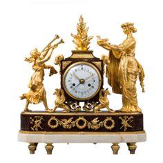 "Rare Gilt Bronze and Rouge Griotte Marble Mantel Clock ""The Sacrifice – Current sales – Barnebys.co.uk"