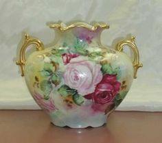 Limoges Pillow Vase-F Antique Dishes, Antique Glassware, Antique China, Vintage China, Limoges China, China Painting, Vintage Vases, Glass Ceramic, Pots