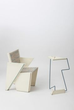 James Evanson, Trapezoid vahir and side table, 1980, Magen H Gallery