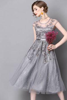 ドレス-ミニ・ミディアム 上品レース 刺繍 結婚式 お呼ばれ 二次会 ふんわり ドレス(7)
