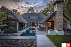 Farmhouse Architecture, Industrial Architecture, Villa Plan, Fantasy House, Forest House, Pool Houses, Decoration, Garden Design, House Plans