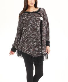 Look at this #zulilyfind! Brown Variegated Fringe Poncho by Bacci #zulilyfinds