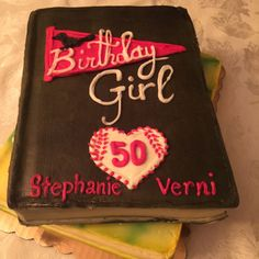 The cake my husband had made for me...a take off on the two books I've written, Baseball Girl and Beneath the Mimosa Tree. It was tasty, too!  Kissing My 40s Goodbye... #ontheblog. Sparkle at Steph's Scribe | stephsscribe.com