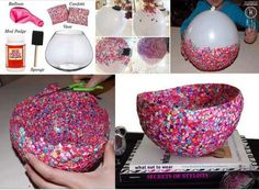 Creative, Easy DIY Crafts Using Balloons - love this confetti bowl idea! This would make a cute gift Kids Crafts, Easy Diy Crafts, Cute Crafts, Crafts To Do, Arts And Crafts, Summer Crafts, Creative Crafts, Preschool Crafts, Creative Design