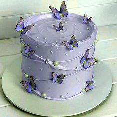 19th Birthday Cakes, Butterfly Birthday Cakes, Pretty Birthday Cakes, Butterfly Cakes, Pretty Cakes, Cute Cakes, Cake Decorating Frosting, Easy Cake Decorating, Cake Decorating Techniques