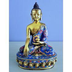 Shakyamuni beeld brons cloisonné 20 cm.