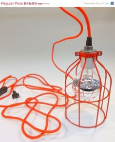 ON SALE RED Industrial Hanging Cage Lamp Light with by GlassRedux, $63.75