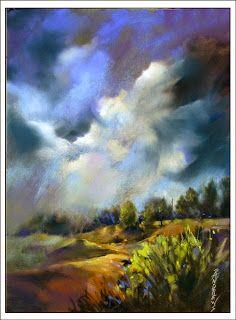 Pastel Artists International: Storm Over The Hills...Rae Andrews