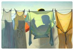 He has done so many of these kind...woman shadowed behind drying clothes. Jeffrey T. Larson