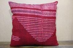 PillowRed Kilim Pillow Case 16x16 Turkish Kilim by SebilPillows