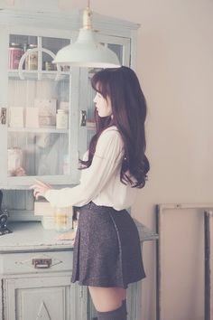 lena lace pintuck blouse snowflake flare skirt french preppy round coat; Ulzzang Fashion