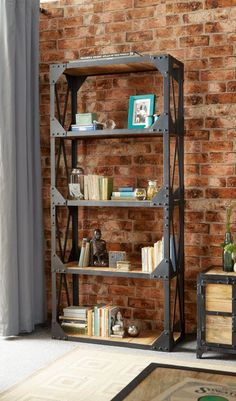 Ascot Industrial Reclaimed Wood And Metal Large Wide Open Bookcase | eBay