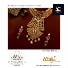 The Subtle Beauty in Gold! Do Visit SHAHI SETS & BANGLES MELA from 10 to 15 October,2018 at SHILPA LIFESTYLE's newly expanded showroom with more space, more range and more choices. We celebrate the GOLDEN JUBILEE 50 YEARS of integrity and trust. #ShahiSets #ShahiBangles #50YearsCelebration #50YearsGoldenJubilee #BridalJewellery #Jewellery #WeddingJewellery #Fashion #ShilpaLifeStyle Gold Mangalsutra Designs, Gold Jewellery Design, Cute Jewelry, Bridal Jewelry, Gold Girl, India Jewelry, Necklace Designs, Pendant Jewelry, Jewelry Collection